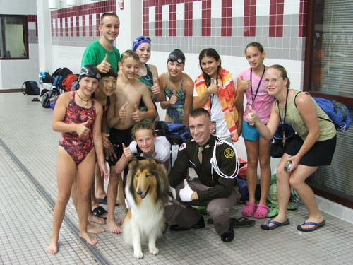 Reveille visits the pool