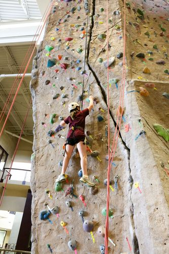 Rock climbing at the Rec
